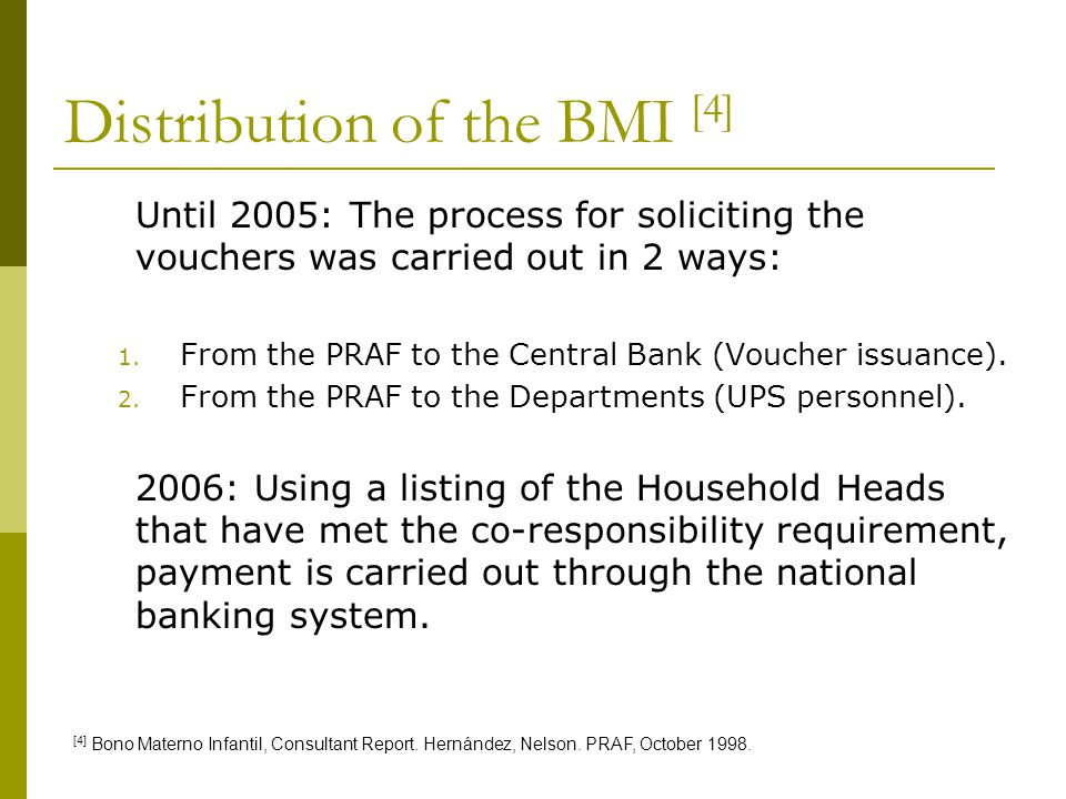 Distribution of the BMI [4]